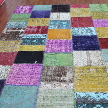 Overdyed Handmade Turkish Patchwork Carpet Multicolour  - Vintage Overdyed Turkish Rug- (210X 328 cm)(7 ft X 10,7 ft)