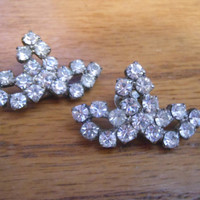 1940s Art Deco Rhinestone bridal or formal shoe clips prong set