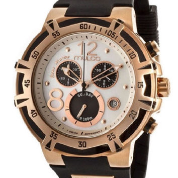 Mulco Bluemarine Mother of Pearl Men's Chronograph Black Rubber Watch
