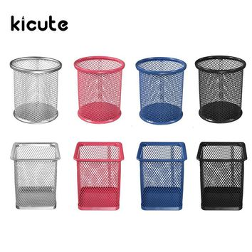 Kicute 1pc 4 Color Desktop Organizer Round Metal Pen Holder Cosmetic Pencil Holders Stationery Container Office School Supply