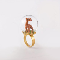 Oh Deer Me  - Unique Round Glass Terene Ring