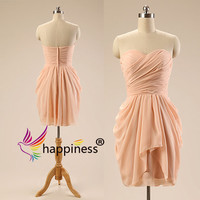 Peach prom dresses delicate prom dress sexy Party dresses Chiffon party dress Strapless Sweetheart neckline prom dresses Short Prom Dress