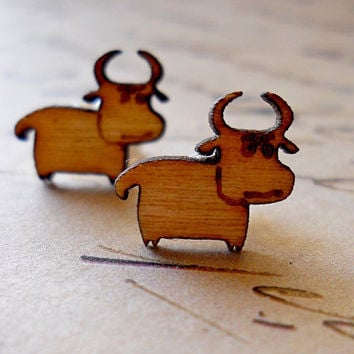 Cow Earrings, Wooden Stud Earrings, Laser Cut, Cows Wood Posts, Farmhouse Chic Rustic Jewelry