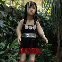 Red dress-lame-silver color-black combination For birthday party costum-dress for girls