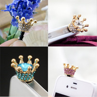 Crystal Rhinestones Cellphone Charms Earphone Audio Headphone Anti Jack Crown Dust Plug Phone