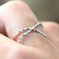 Sterling Silver X Cross Ring Size Adjustable Simple Twisted Band Ring Gift Idea