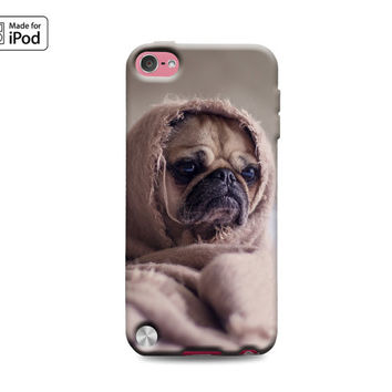 Pug in Blanket Funny Old Woman Puppy Dog Puppies Silly Adorable Cute Fun Rubber Case for iPod Touch 6th Generation Gen or iPod Touch 5th Gen