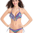 Multicolor Halter Fringing Triangle Bikini Top And Side Tie Bottom