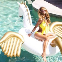 Jasonwell Giant Inflatable Pegasus Pool Float, Inflatable Float Toy with Rapid Valves