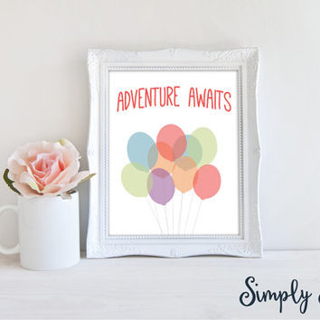 Wall Art Quotes - Adventure Awaits - Inspirational Wall Art - Motivational Print - Nursery Wall Art - Childrens Wall Art - Quote Print
