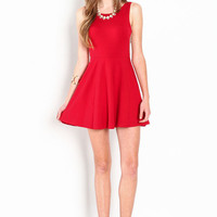 SCOOPBACK KNIT SKATER DRESS