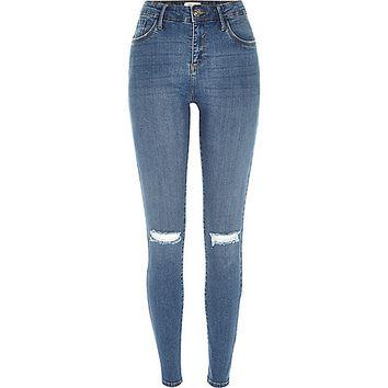 River Island Womens Mid wash ripped Amelie superskinny jeans