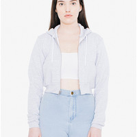 Salt and Pepper Cropped Zip Hoodie | American Apparel