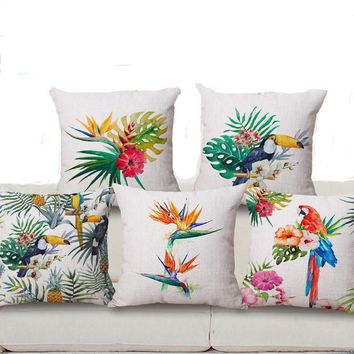 "Square 18"" Hand painted Tropical Flower Leaves Tree Linen Cushion Cover Flowers Floral Pillow Covers For Sofa Chair Housse"