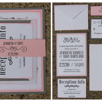 Gray and Peach Wedding Invitation | Handmade | Invite | RSVP | Envelopes | Belly Band | SAMPLE SET
