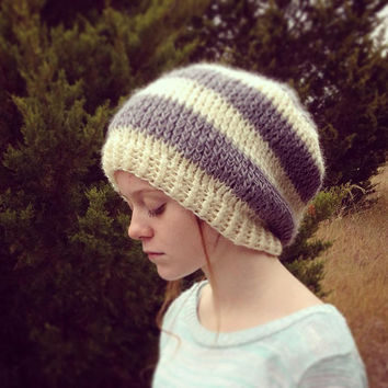 Striped Mod Cowl with Twist, Slouch Hat, Gray, Cream, Modern, Cold Weather Accessories, Teen, Tween, Trendy, Fashion