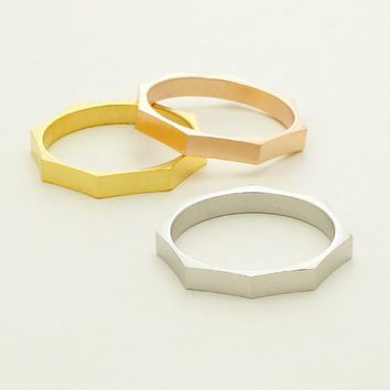 Octagonal Nut Ring / geometric ring, band ring, stackable ring, nuts and bolts, octagonal ring, minimalist / R068