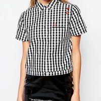 Fred Perry Amy Winehouse Collection Bowling Shirt With Gingham Trim