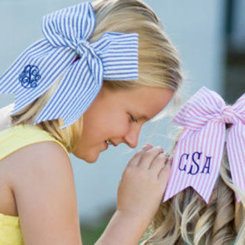 Seersucker Preppy Cheer Bow -Monogram Included in Price