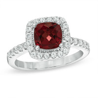 Cushion-Cut Garnet and Lab-Created White Sapphire Frame Ring in Sterling Silver