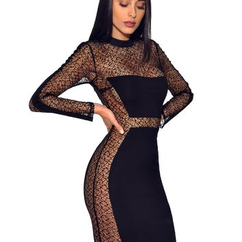 Black Sheer Mesh Long Sleeve Stretch Crepe Dress