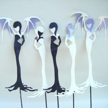 Winged Vampiress Stick Paper Doll Vampire Black Ivory Morticia Halloween Puppet Stocking Stuffer Art Doll