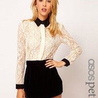 ASOS PETITE Exclusive Playsuit With Velvet Shorts And Lace Top at asos.com