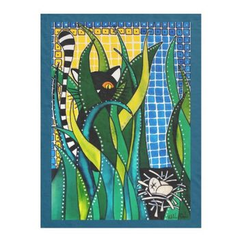 Hunter in Camouflage Whimsical Cat Art Fleece Blanket