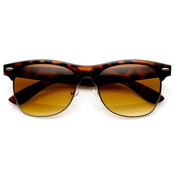 Traditional Style Retro Half Frame Horn Rimmed Sunglasses