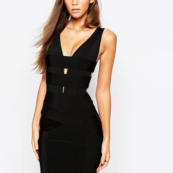 WOW Couture Bandage Deep Plunge Dress