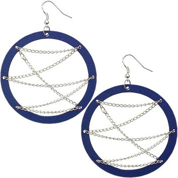 Blue Wooden Zigzag Chain Hoop Earrings
