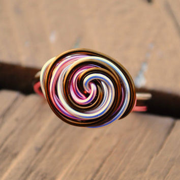 Wire Wrapped Ring Tri Color Friendship Rose Gold by KissMeKrafty