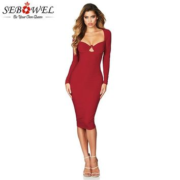 SEBOWEL Red Sexy Long Sleeve Midi Club Dress Women Elegant Bodycon Party Dress Sexy Strapless Evening Gown for Female