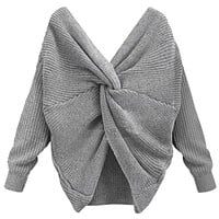 Sexy Open Back Sweater Women Big Tie V-Neck Full Sleeve Sweaters Solid Color Knitted Pullovers Elegant Knitwear