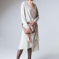 Gray Wrap Dress Gray Midi Dress Loose Dress Elegant Evening Dress Long Sleeves Dress