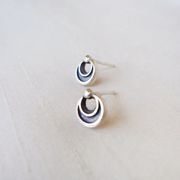 Sterling Silver Stud Posts Earrings Circle Round Moon with little ball - Original Small Round Post Earrings Studs - Contemporary Jewelry