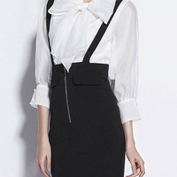 Black High Waist Suspender Pencil Skirt