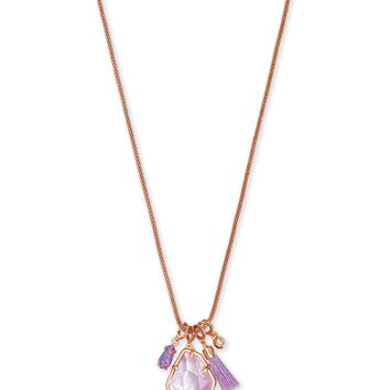 Kendra Scott: Hailey Rose Gold Long Pendant Necklace In Lilac Mother Of Pearl