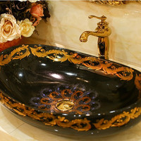 Oval Bathroom Lavabo Ceramic Counter Top Wash Basin Cloakroom Hand Painted Vessel Sink 5049