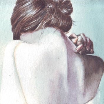 HM068 Original watercolor painting art Skin and bones by Helga McLeod