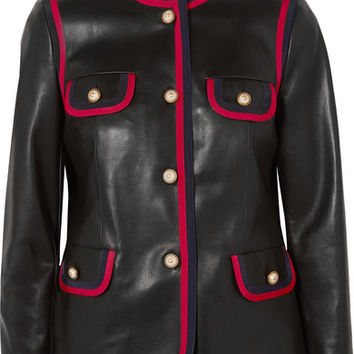 Gucci - Grosgrain-trimmed leather jacket