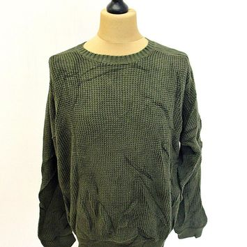 Vintage 90s Timberland Plain Green Shaker Knit Jumper Sweater Large