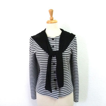 Vintage Sailor Blouse Striped Black White Silver Long Sleeve Knit Shirt Large