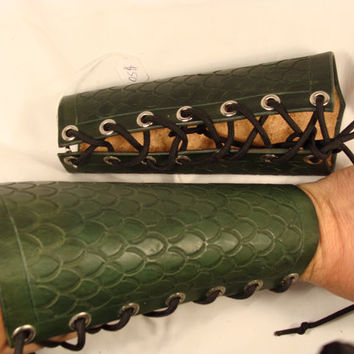 Scaled Hard Leather Arm Guards LARP armor