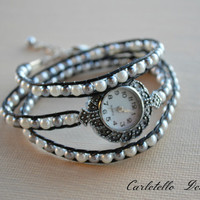 Black Leather Wrap Watch with Gray and White Pearls