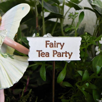 Fairy Garden accessories sign miniature Fairy Tea Party accessory for miniature garden or terrarium