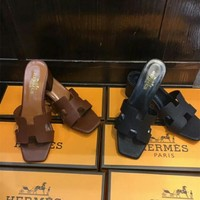 """""""Hermès"""" Women Fashion All-match Simple Solid Color H Slippers Block Heels Shoes Sandals"""