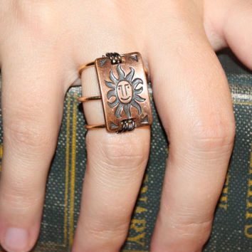 Sliding Sun Face Boho Jewelry, Unique Rings, Copper Sun Ring Plaque on Gold Colored Copper Wire, Bold Wire Wrapped Ring, Gypsy Metal Ring