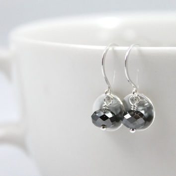 Sterling silver crystal earrings, Available in 20 different Colors, Birthstone earrings, sparking crystal drops