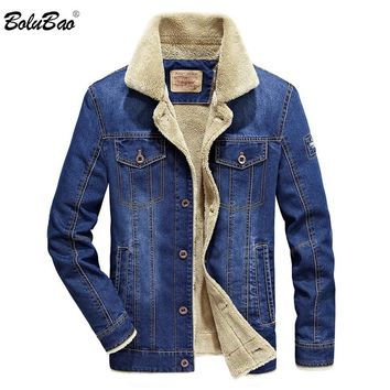 BOLUBAO 2018 Winter Men Fashion Denim Jacket Mens Fashion Casual Jacket Men Brand Jacket Slim Fit Denim Coats Male